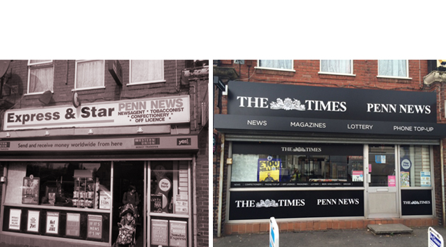 Times Newspaper shop graphics