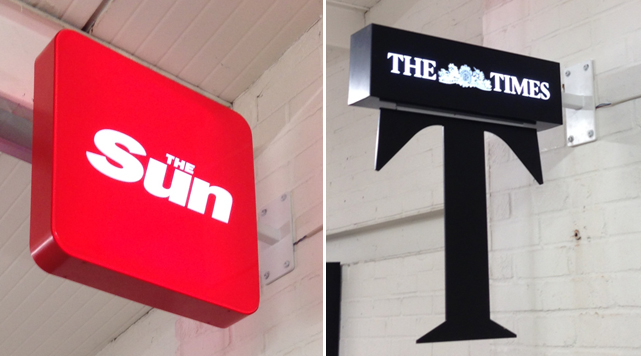Sun and Times illuminated acrylic projecting signs