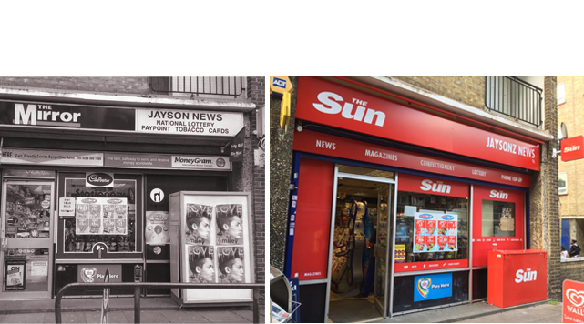 Before and after picture of shopfront refit