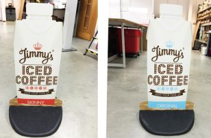 Jimmy's Iced Coffee pavement signs