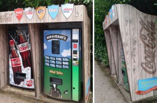 Digitally printed dibond for vending machine shrouds